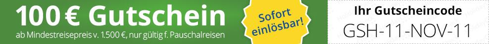 So geht's: Bitte geben Sie diesen Gutscheincode bei Ihrer Buchung im vorgesehenen Gutscheincodefeld an.  Wir überweisen Ihnen den Gutscheinwert nach Ihrer Reiserückkehr.