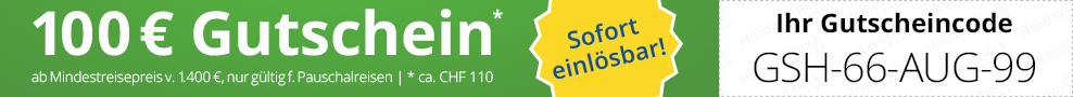 So geht's: Bitte geben Sie diesen Gutscheincode bei Ihrer Buchung im vorgesehenen Gutscheincodefeld an.  Wir überweisen Ihnen den Gutscheinwert nach Ihrer Reiserückkehr